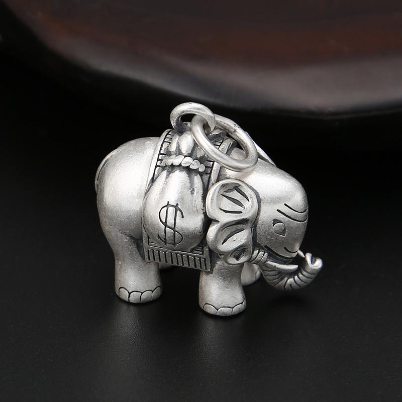s990  复古潮流钱钱挂件 时尚个姓小象项坠 富贵鹿大象吊坠男女 纯银