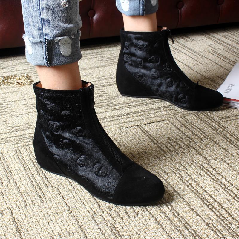歐洲站新款真皮馬毛內增高黑色骷髏頭裸靴女靴正品短靴坡跟單靴子