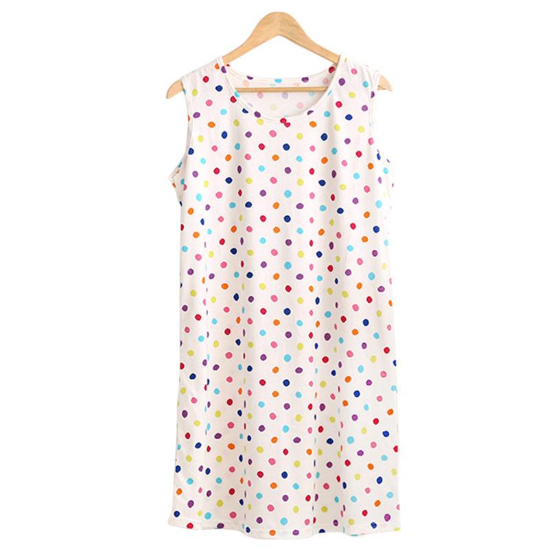 夏季无袖睡裙女士家居服薄款纯棉睡衣圆领宽松大码中款多色舒适