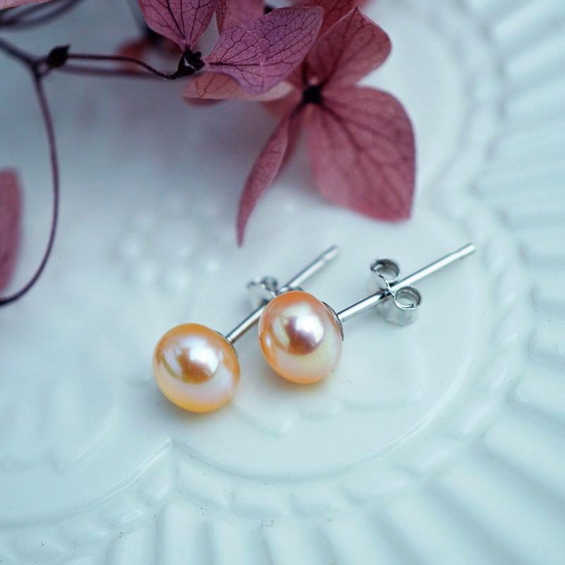 7mm 925  买二送一 银极亮无瑕小可爱天然淡粉色小珍珠耳钉耳环