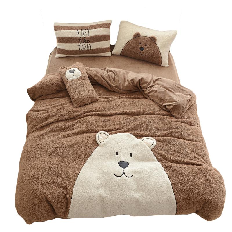 卡通可爱熊儿童羊羔绒加厚保暖法莱绒四件套加绒毛水晶绒床上用品