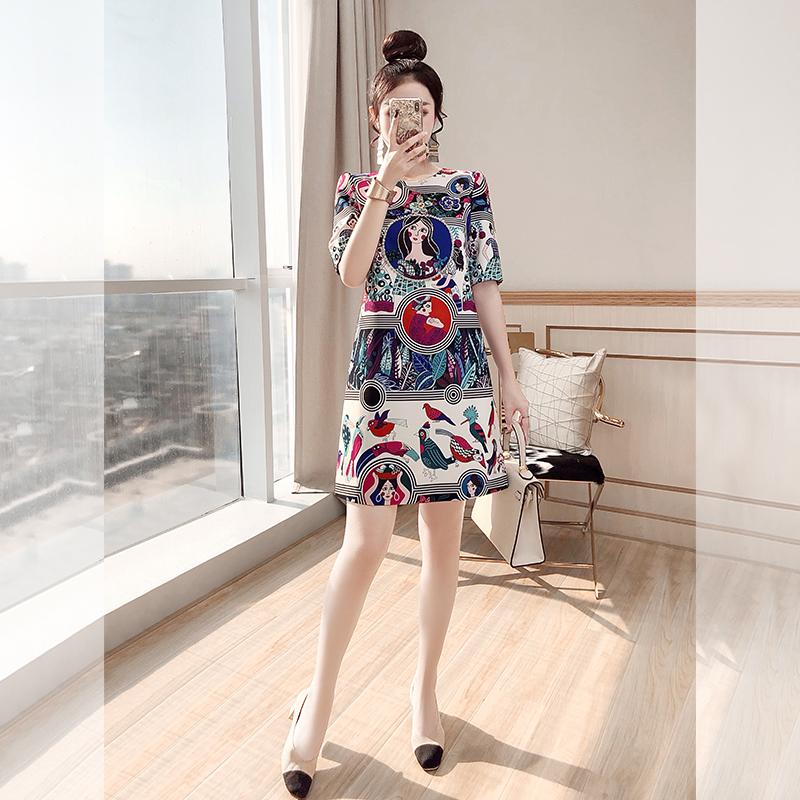雅复古法式桔梗连衣裙