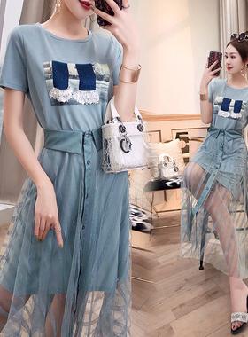 休闲套装时尚夏季女装2021新款T恤绿色网纱气质炸街套装裙两件套