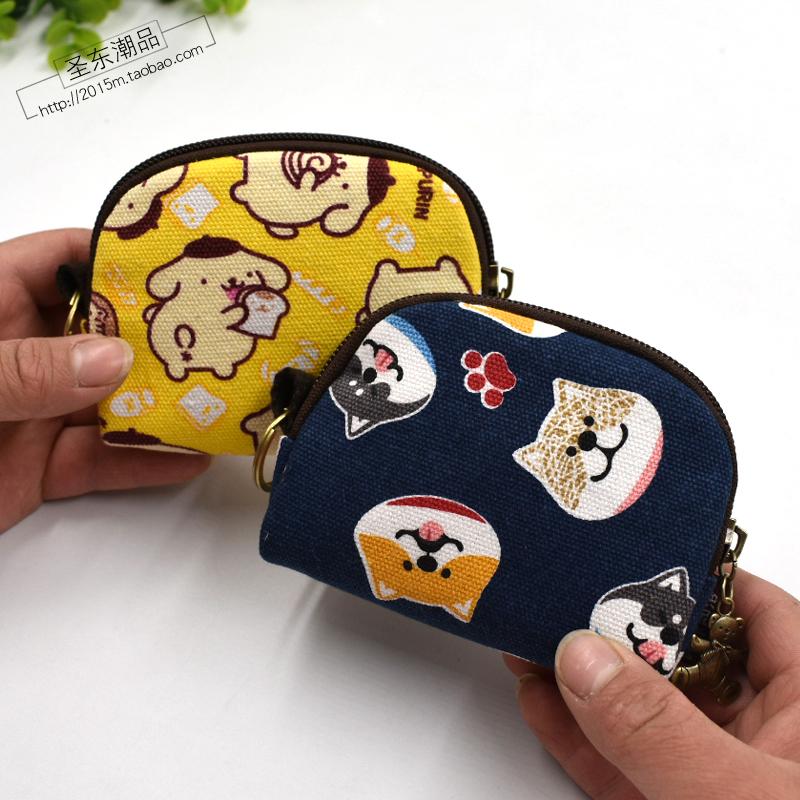 女帆布钥匙小包拉链小钱包卡通布艺迷你手拿包卡包 ins 零钱包韩国
