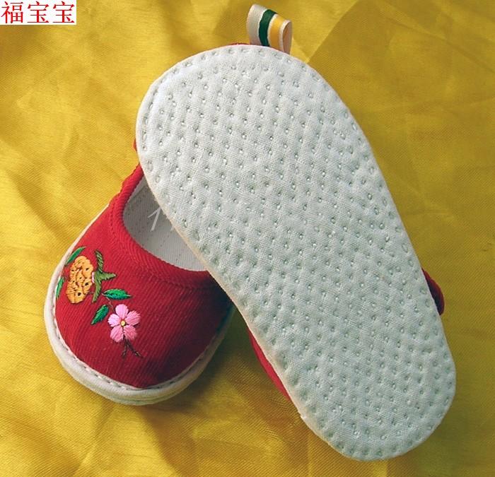 绣花千层底防滑宝宝布鞋女婴儿学步童鞋虎头鞋手工刺绣多福石榴花