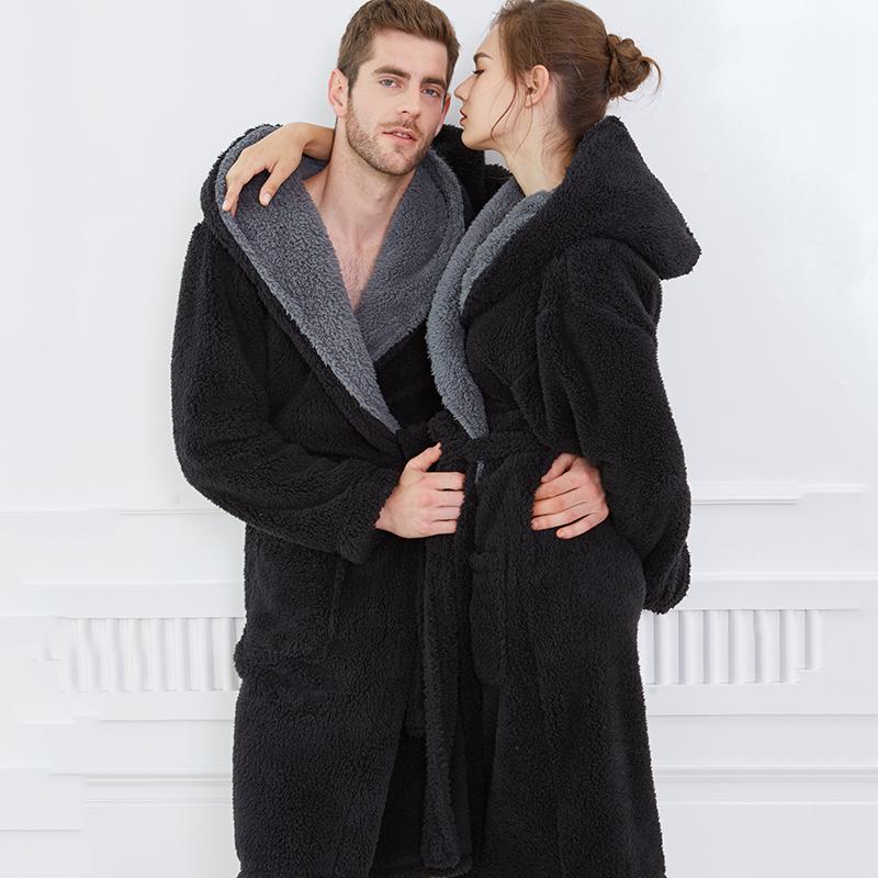 冬季男加厚连帽珊瑚绒睡袍保暖大码长款情侣睡衣法兰绒秋冬女浴袍