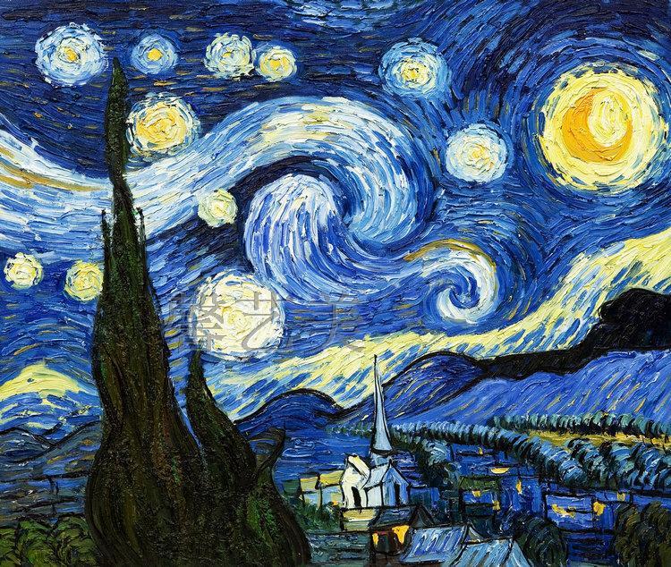 包邮世界名画梵高丰收欧式客厅装饰画杏花白玫瑰星空油画喷绘画芯