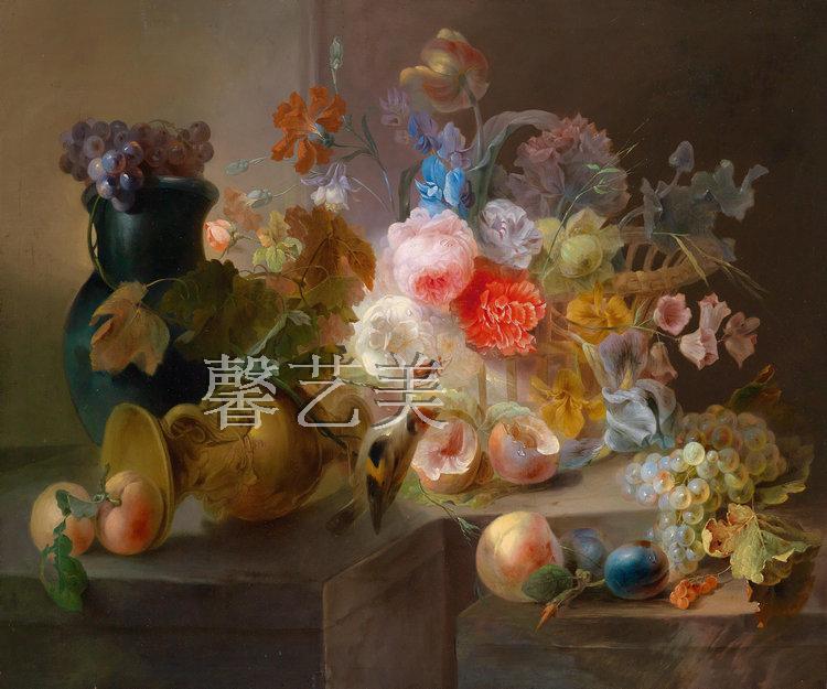 餐厅挂画玄关古典花卉 静物油画装饰画画芯仿真油画喷绘批发