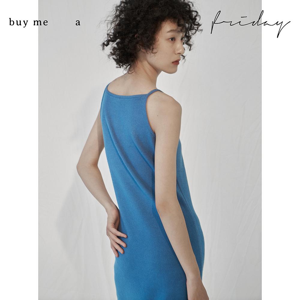 a  法式一字领柔软针织吊带连衣裙 Friday buy me