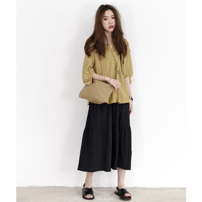 KNgs 春夏复古日系小清新宽松法式圆领泡泡袖七分袖衬衫女上衣