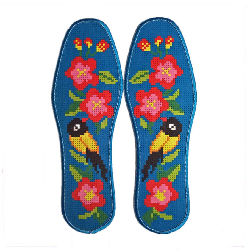精准印花针孔十字绣鞋垫 纯手工绣花纯棉吸汗透气加厚耐磨半成品