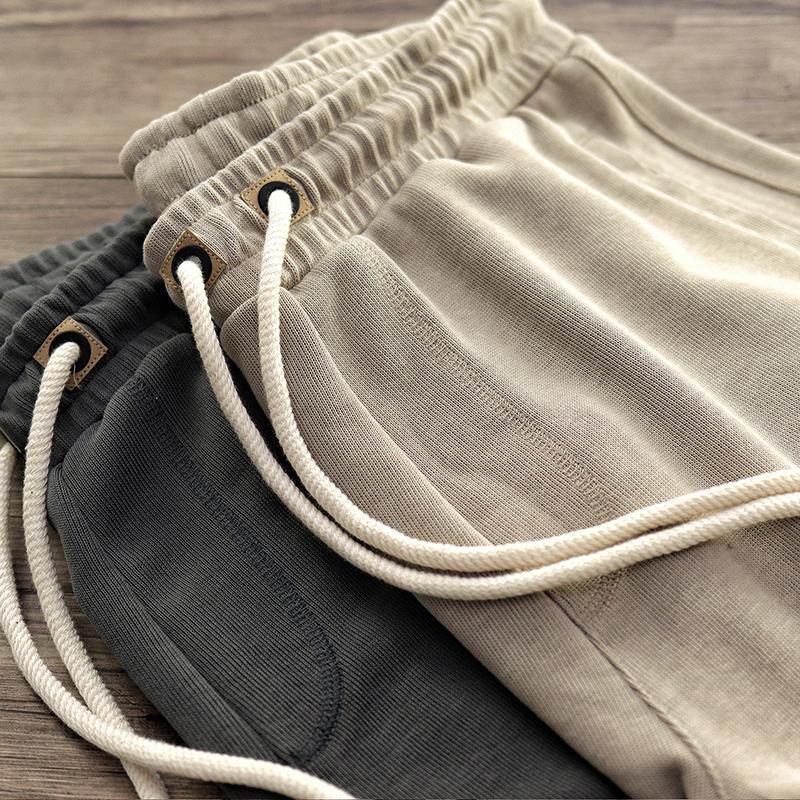 重磅针织短裤男日系复古全棉做旧慵懒松紧腰运动宽松休闲五分裤男