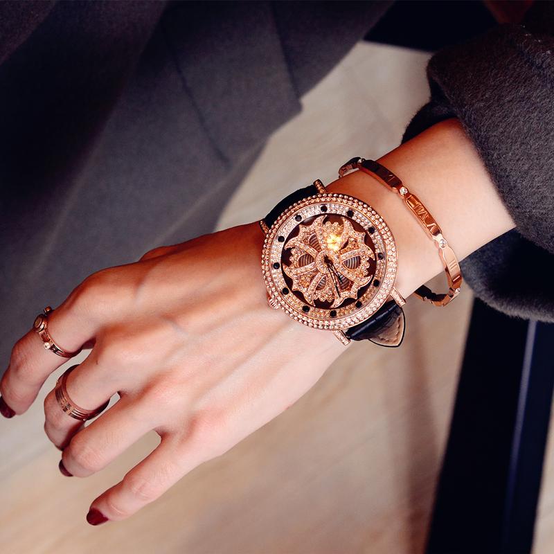 新款帅气时尚潮流水钻表 时来运转手表女士腕表大表盘石英表 2018