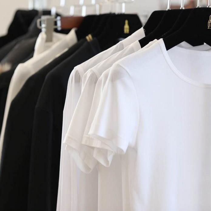 小虫纯丝光棉短袖白色t恤女2019新款夏装圆V领上衣打底衫