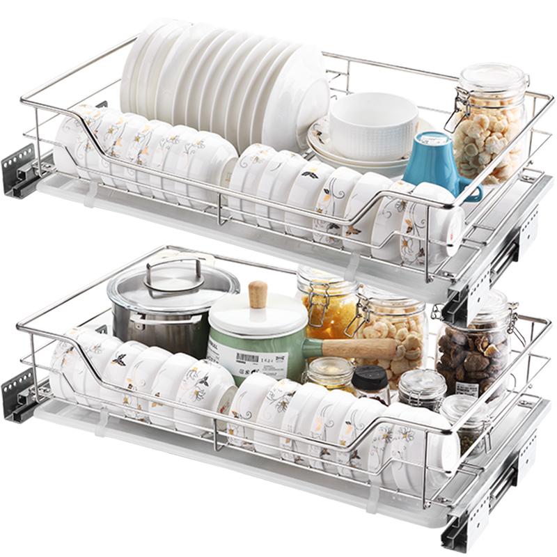 不锈钢厨柜拉蓝碗篮置物架碗架碗碟双层抽屉式 304 厨房柜拉篮 纳致