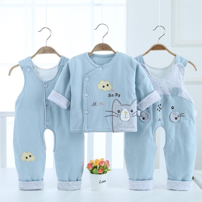 婴儿套装纯棉宝宝背带裤棉服三件套薄棉男童女童保暖童装新年服
