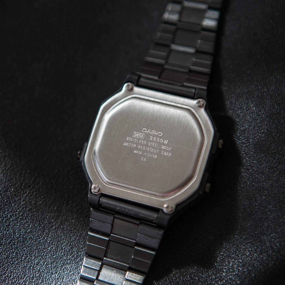 B650WB 1B 正品卡西欧 豆芽同款复古方形男士多功能电子手表女 CASIO
