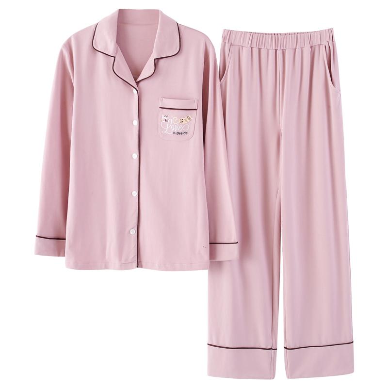 南极人睡衣女夏季薄款长袖纯棉两件套装清新大码春秋冬棉绸家居服