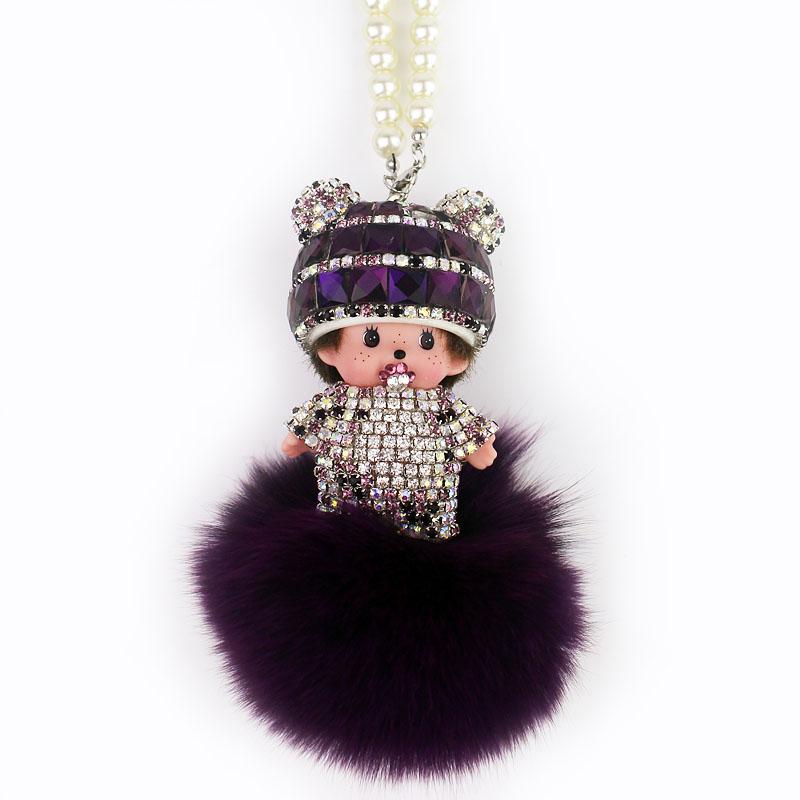 镶钻汽车挂件珍珠链后视镜吊坠狐狸毛球汽车挂饰车载内饰装饰女