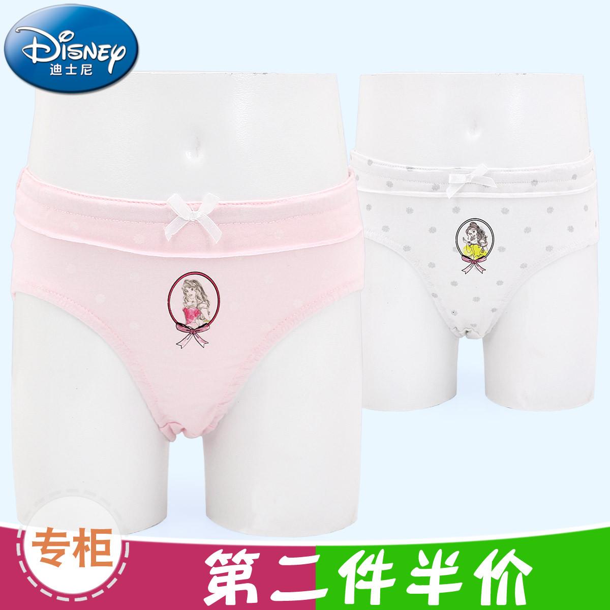 包郵迪士尼內衣專櫃公主兒童內褲純棉三槍女孩短褲女童三角褲2條