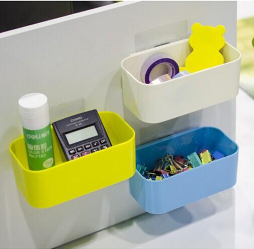 家用時尚壁掛式收納盒 免打孔掛牆雜物盒文具收納置物架可釘牆上