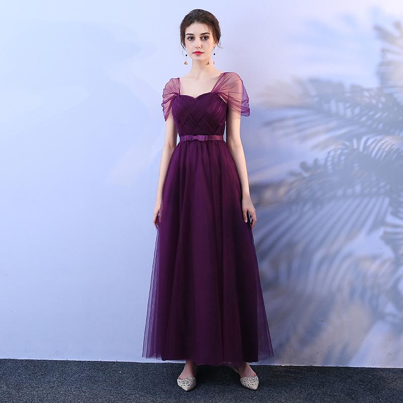伴娘服女新款葡萄紫色长款修身显瘦姐妹团婚礼主持人晚礼服包邮