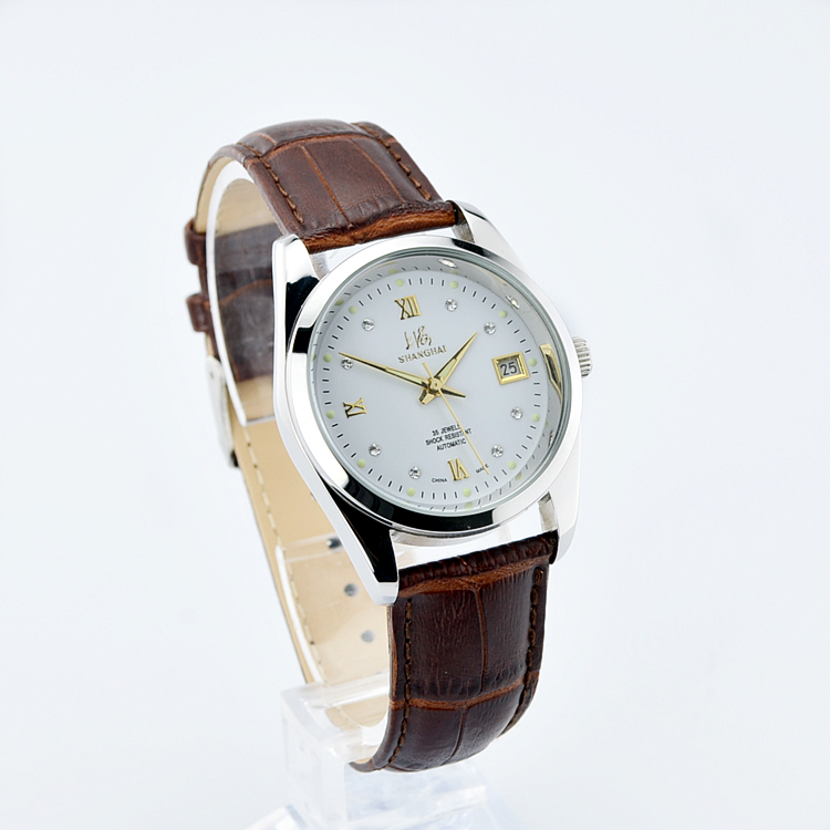 男士日历钢带皮带腕表 8120 国产上海手表全自动机械表全新国产正品