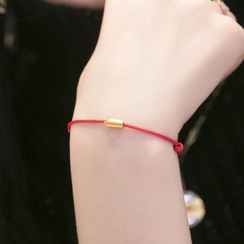 硬金大米红绳鼠你有米金米本命年手链过新年礼物 999 恒蕴珠宝