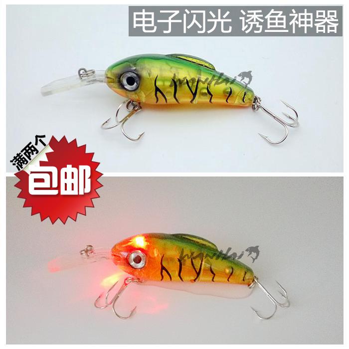 路亞lure小胖搖滾crank電子閃發紅光夜釣硬擬仿生塑料假魚餌100mm