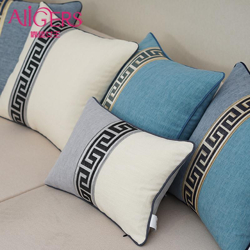 靠垫女王现代新中式棉麻条纹大沙发抱枕靠枕客厅座椅床头腰枕靠背