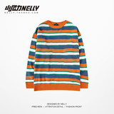 ins homemade-knitted sweater-2020 soil orange check contrast color loose knitted sweater student Japanese bf men and women