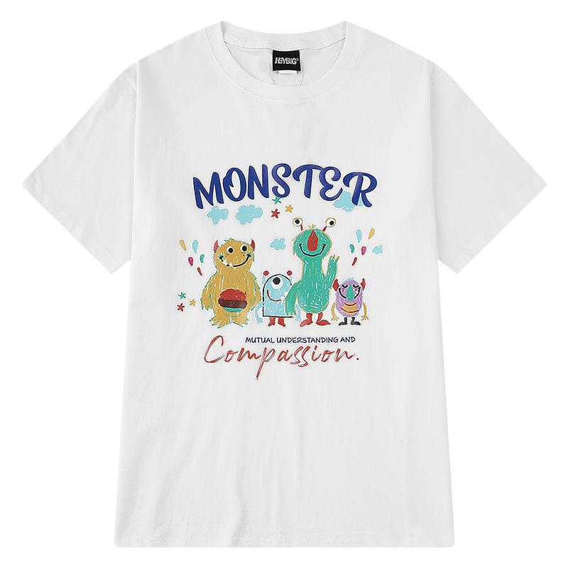 oversize嘻哈夏季潮牌个性T恤衫男士韩版潮流百搭圆领短袖上衣潮
