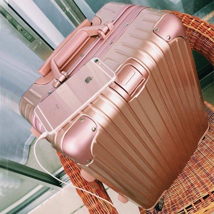 玫瑰金鋁框拉桿箱萬向輪22旅行箱26寸行李箱pc箱子24寸28寸男/女
