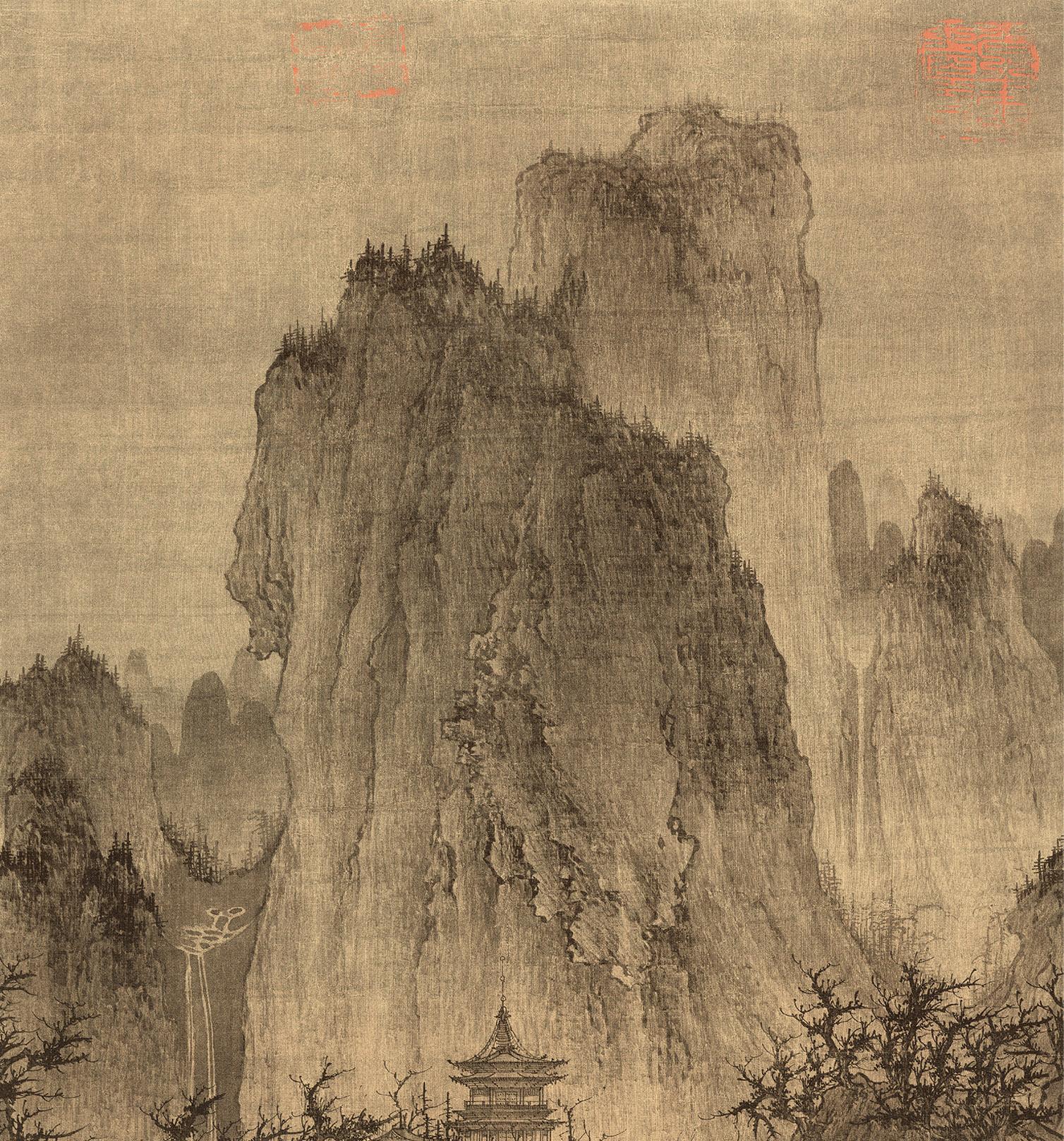 北宋李成《晴巒蕭寺圖》山水國畫藝術微噴裝飾畫56X111.4復制臨摹