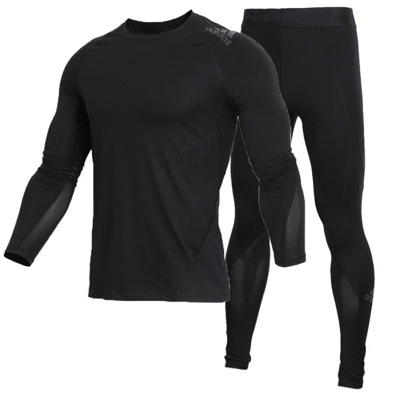 阿迪达斯男套装运动健身衣服速干衣长袖T恤训练弹力紧身裤长裤