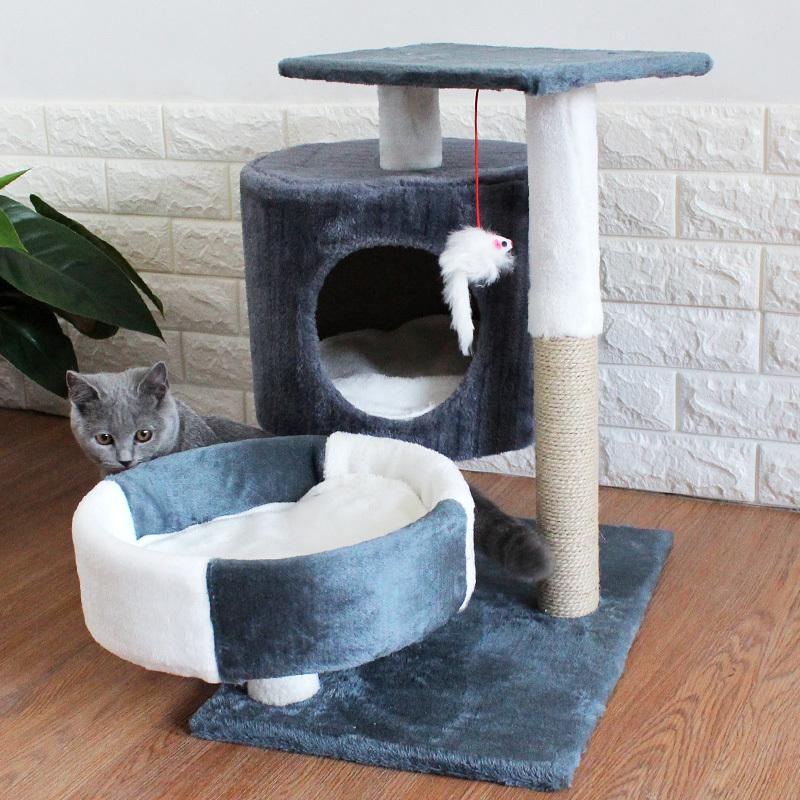 猫咪用品保暖猫爬架猫窝猫树实木一体小型树屋猫抓板爬架网红别墅