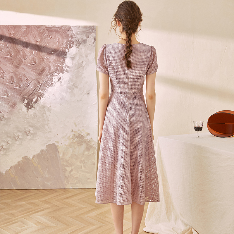 02187 夏装新款气质镂空优雅大摆中长裙子 2020 罗衣浪漫蕾丝连衣裙
