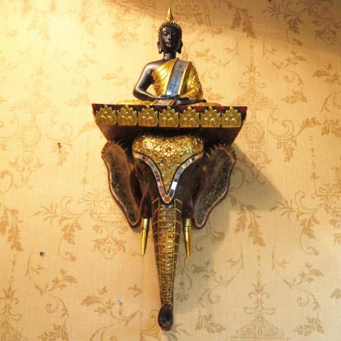 印度風情象頭壁掛壁飾牆壁掛飾裝飾品泰式大象頭佛像擺件玄關擺件