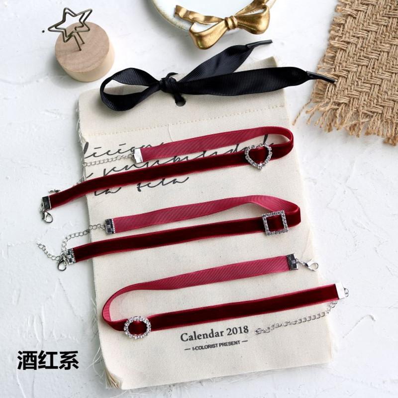 Chic原宿进口优雅黑色丝绒闪钻颈链choker复古手工少女项链颈带