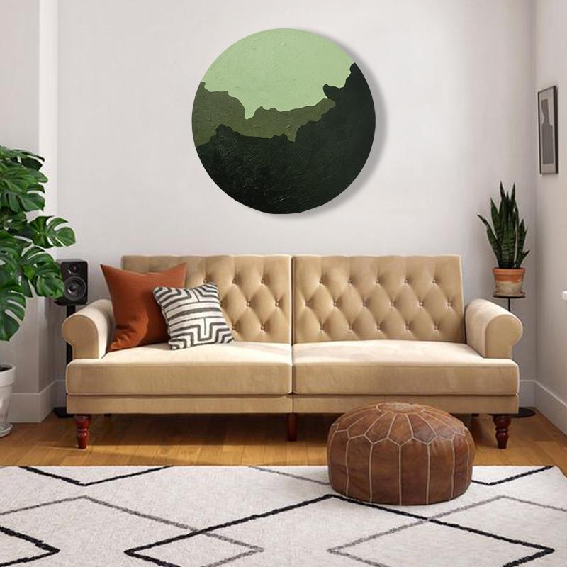 原創純手繪肌理油畫圓形禪意掛畫抽象山水簡約森系臥室玄關裝飾畫