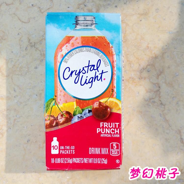 美国Crystal Light On-The-Go无糖低卡路里ins果汁粉冲剂饮料10支