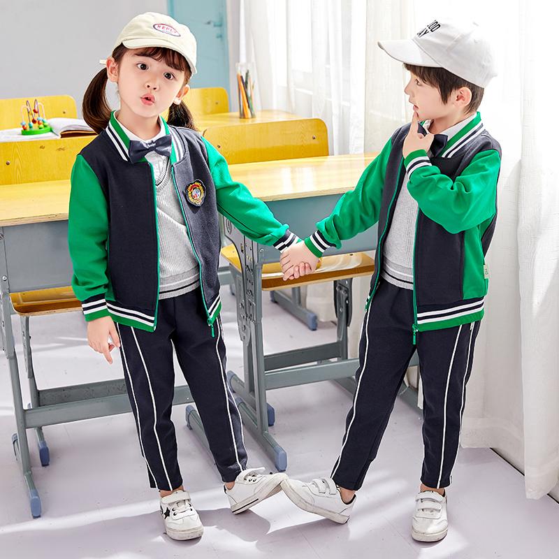 幼儿园园服春秋装纯棉英伦儿童运动套装小学生教师班服校服定制
