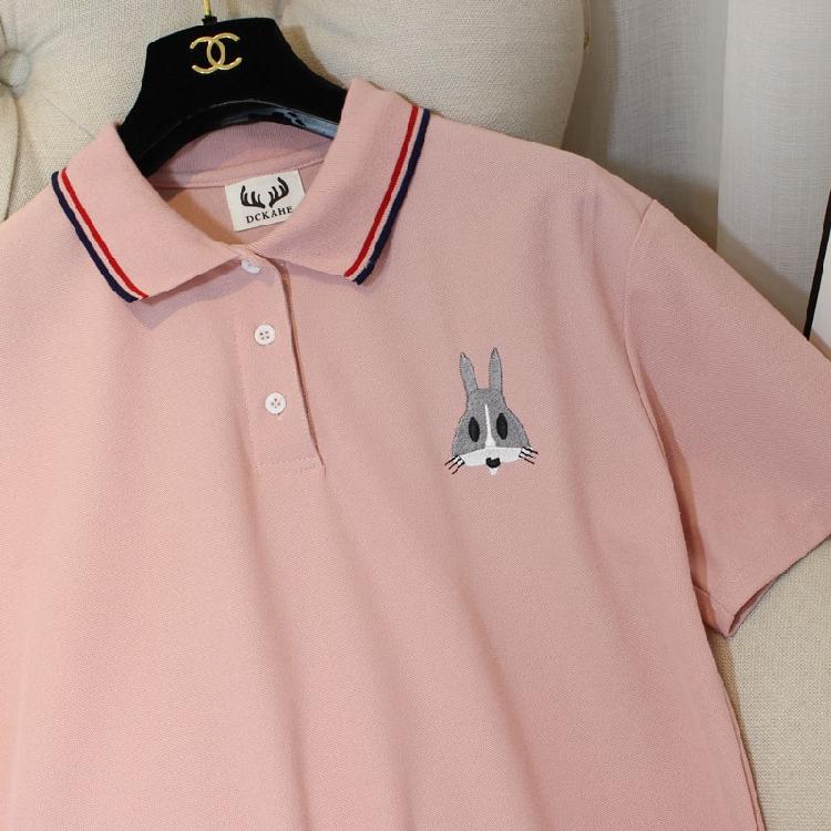韩版学生宽松休闲短袖连衣裙 刺绣卡通兔荷叶摆POLO领中长款T恤女
