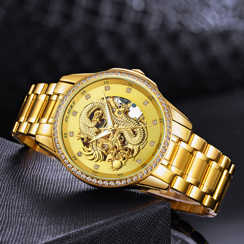 赛娜斯土豪金镂空中国龙表商务防水镶钻石黄金全自动机械男士手表