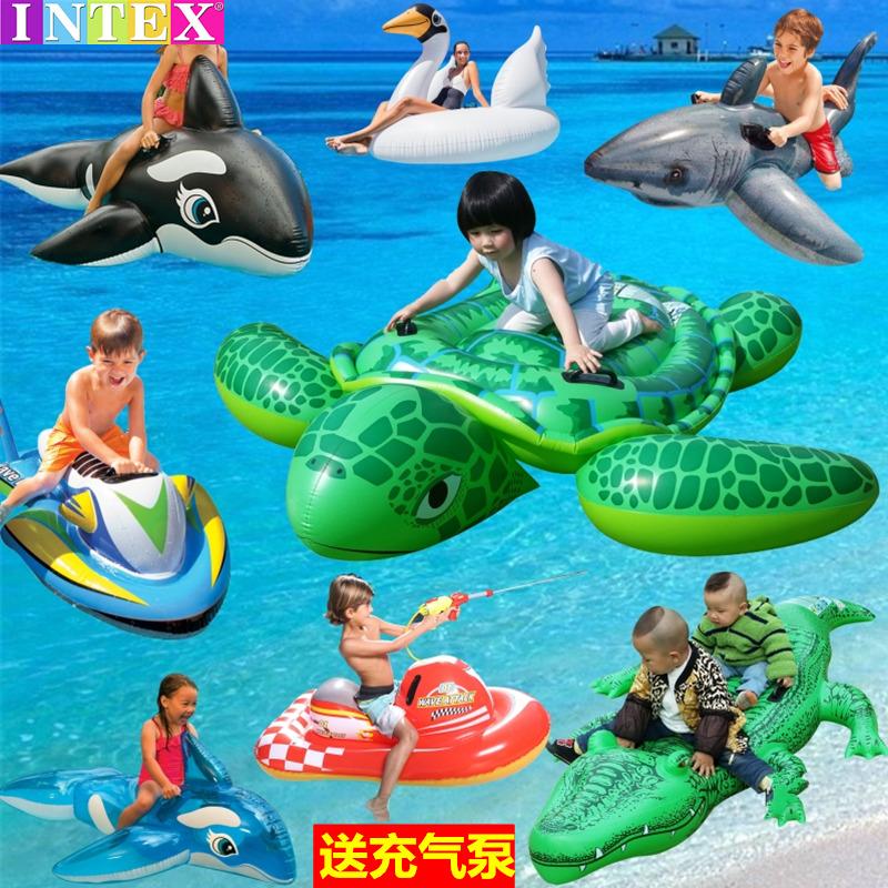 兒童游泳圈成人加厚大號動物浮排鯊魚水上充氣床男女寶寶玩具坐騎