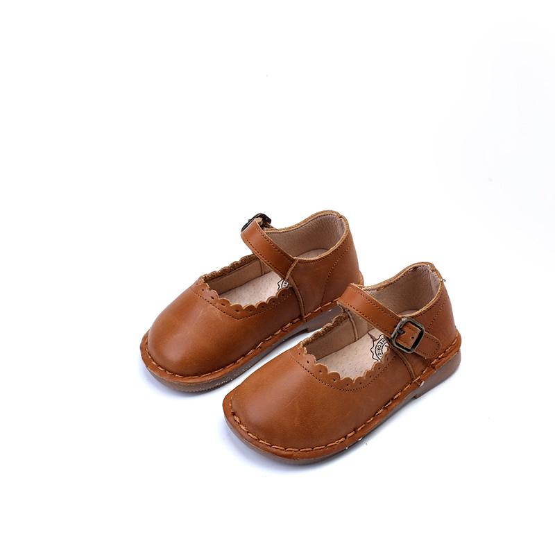 春秋款童鞋女童真皮公主鞋1-3-5岁女宝宝方口小皮鞋复古软底单鞋