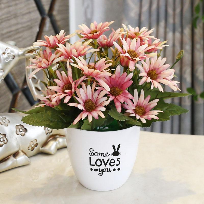 室内绢花干花花束小盆栽家居摆设仿真花艺塑料假花摆件客厅装饰品