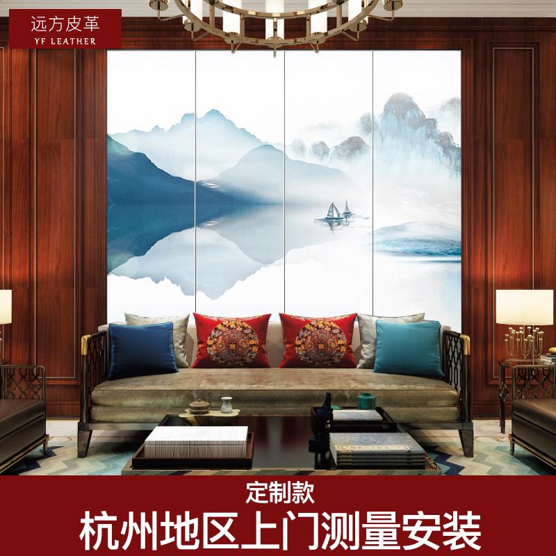 新中式硬包银杏叶喷绘软包背景墙客厅卧室电视背景墙硬包背景墙