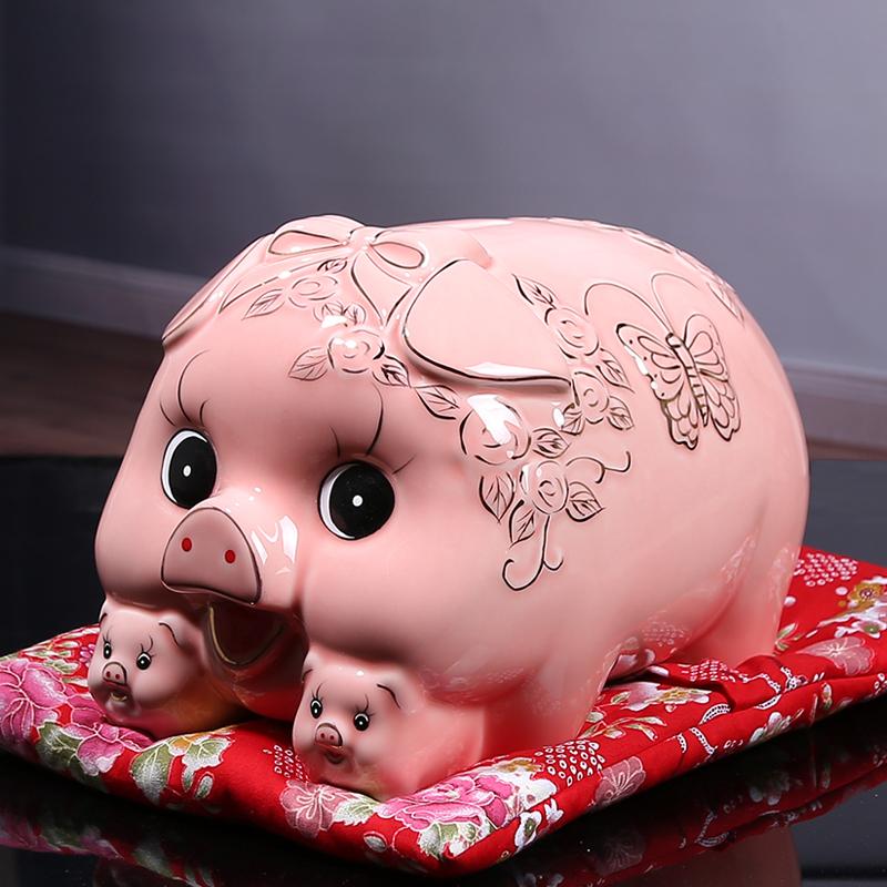 儿童创意储钱罐生日礼物 储蓄罐大人 只进不出陶瓷猪存钱罐盒大号