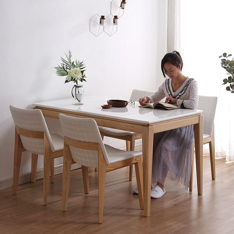 北欧大理石餐桌现代简约小户型家用白蜡木原木家具实木餐桌椅组合
